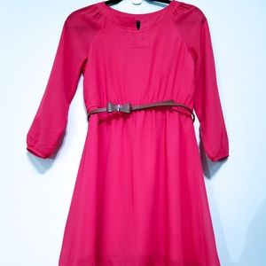 My Michelle 3/4 Sleeves Dress with Belt